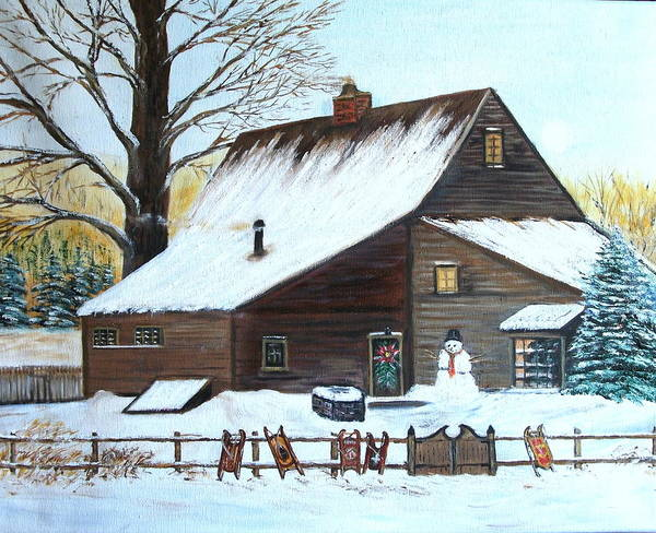 Landscape Poster featuring the painting Last of Winter by Kenneth LePoidevin