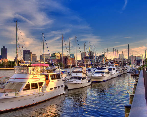 Boston Poster featuring the photograph Late Afternoon At Constitution Marina - Charlestown by Joann Vitali