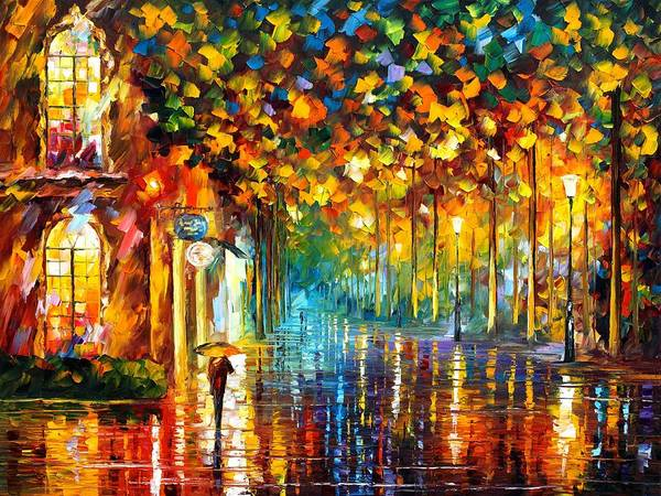 Afremov Poster featuring the painting Late Stroll Miami by Leonid Afremov