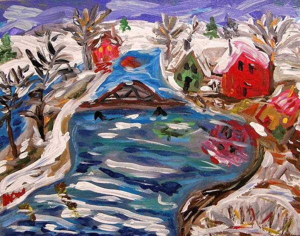 Snow Poster featuring the painting Late Winter Canal-mary's View by Mary Carol Williams