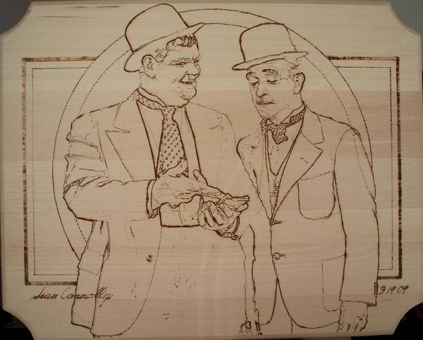 Pyrography Poster featuring the pyrography Laurel And Hardy - Thicker Than Water by Sean Connolly