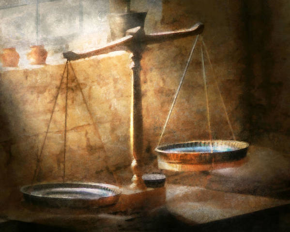 Lawyer Poster featuring the photograph Lawyer - Scale - Balanced Law by Mike Savad