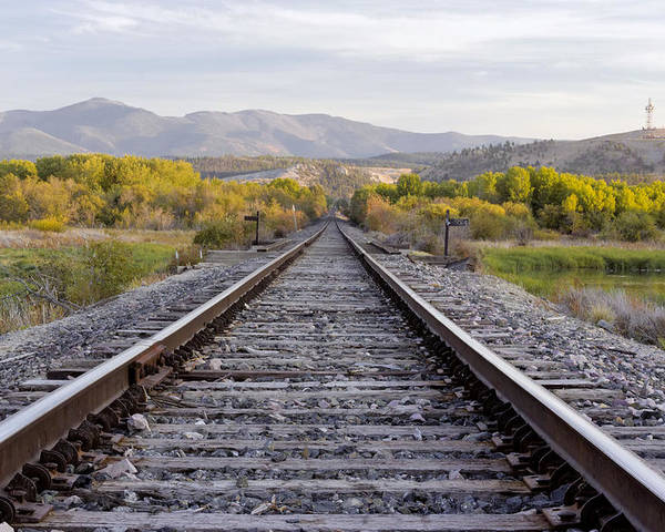Railroad Tracks Poster featuring the photograph Lead Me On by Dana Moyer