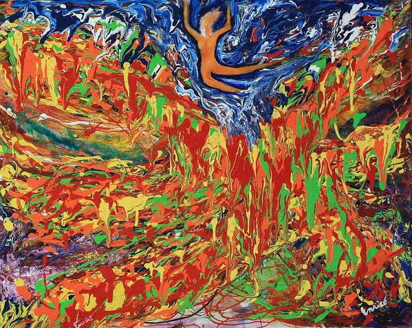 Abstract Expressionism Poster featuring the painting Leap Of Faith by Art Enrico