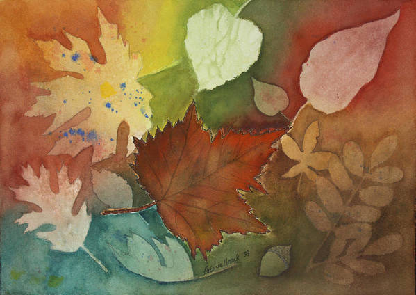 Leaves Poster featuring the painting Leaves Vl by Patricia Novack