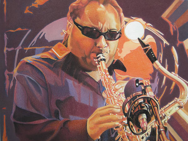 Leroi Moore Poster featuring the drawing Leroi Moore Purple And Orange by Joshua Morton