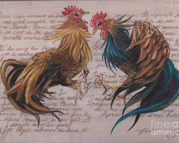 Chicken Painting Poster featuring the painting Les Deux Coqs by Callie Smith