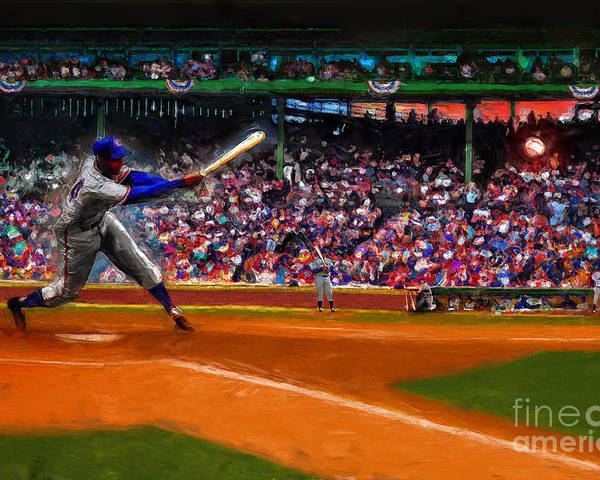 Cubs Poster featuring the digital art Let's Play Two by Alan Greene