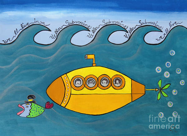 The Beatles Poster featuring the painting Lets Sing The Chorus Now - the Beatles Yellow Submarine by Ella Kaye Dickey