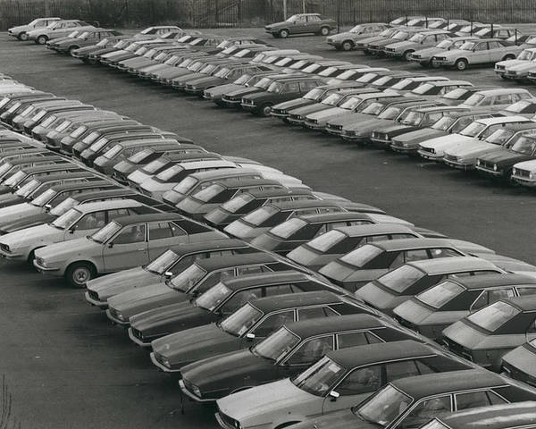 retro Images Archive Poster featuring the photograph Leyland Cars Stockpiled As Sales Slump by Retro Images Archive