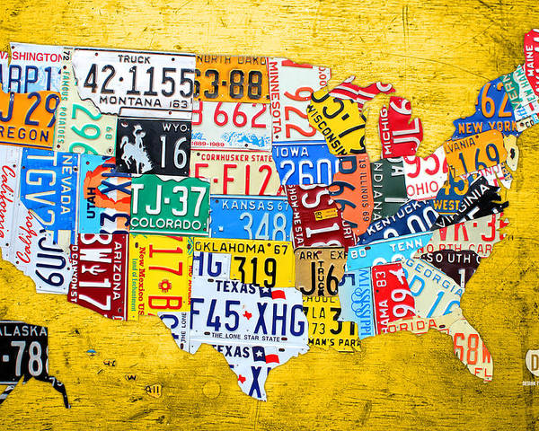 License Plate Map Poster featuring the mixed media License Plate Art Map Of The United States On Yellow Board by Design Turnpike