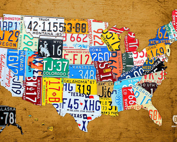 License Plate United States Map.License Plate Map Of The United States On Burnt Orange Slab Poster