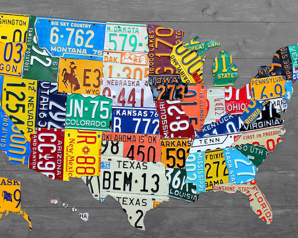 License Plate United States Map.License Plate Map Of The United States On Gray Wood Boards Poster By