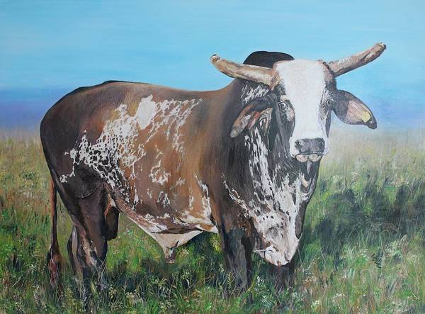 Bull Poster featuring the painting Life Between Rodeos by Leonie Bell