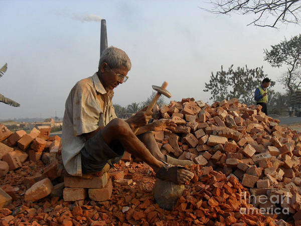 An Old Man Breaking Brick For A Loaf Of Bread Poster featuring the photograph Life Like This by Shah Aziz