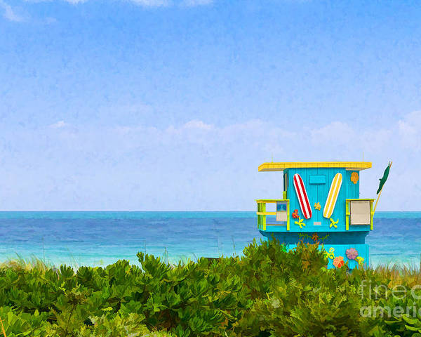 Symbol Poster featuring the photograph Lifeguard Station In Miami by Les Palenik