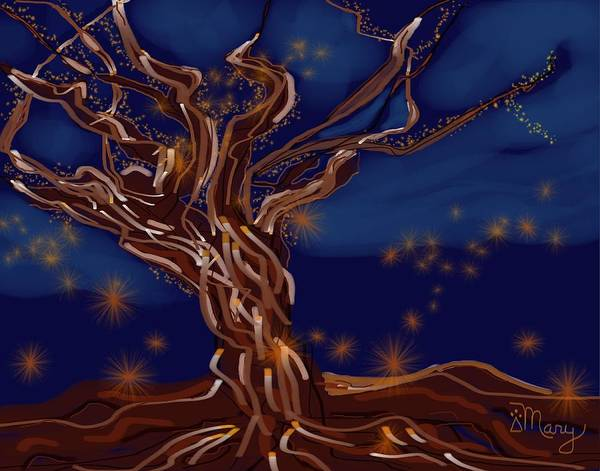 Tree Artwork Poster featuring the digital art Light Force by Mary Gravelle