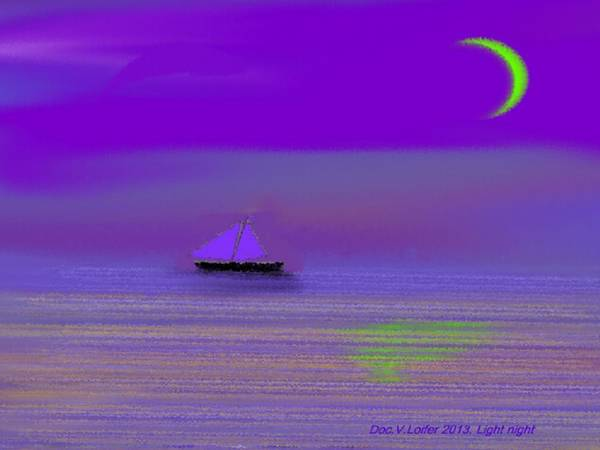 Sea Moon Sky Night Waves Silence Poster featuring the digital art Light Night by Dr Loifer Vladimir
