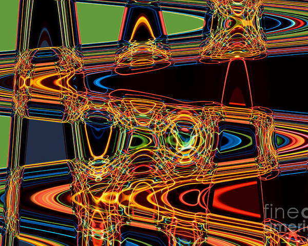 Abstract Poster featuring the digital art Light Painting 3 by Delphimages Photo Creations
