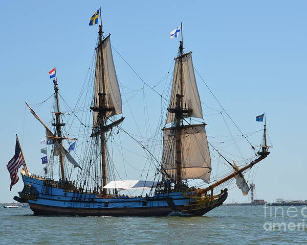 Tall Ship Poster featuring the photograph Light Sails by Brenda Dorman
