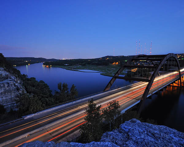 Pennybacker Bridge Poster featuring the photograph Light Trails At Pennybacker Bridge by Kevin Pate