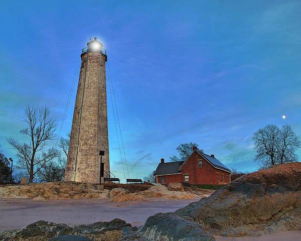 Lighthouse Poster featuring the photograph Lighthouse At Lighthouse Point Park by Andrea Galiffi
