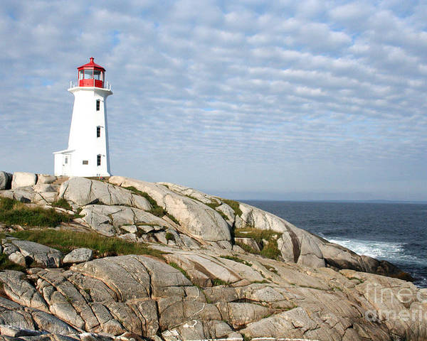 Lighthouse Poster featuring the photograph Lighthouse At Peggys Point Nova Scotia by Thomas Marchessault