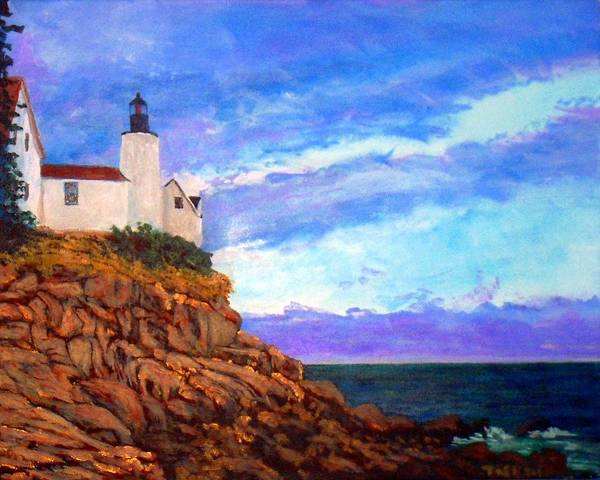 Lighthouse Poster featuring the painting Lighthouse Overlook by William Tremble