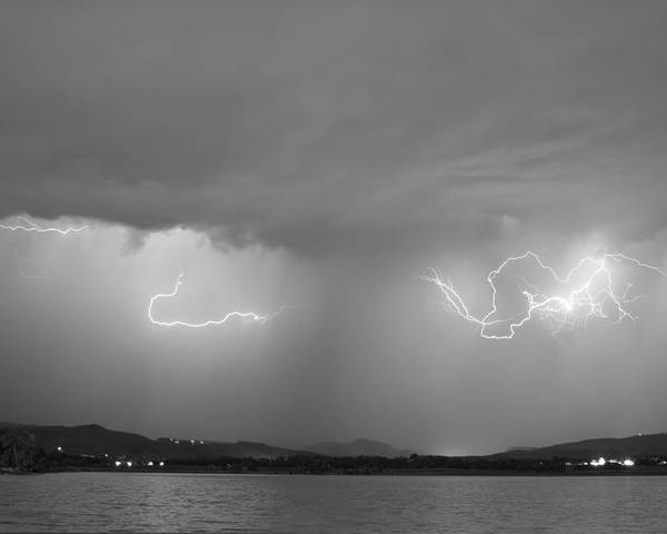 Lightning Poster featuring the photograph Lightning And Rain Over Rocky Mountain Foothills Bw by James BO Insogna