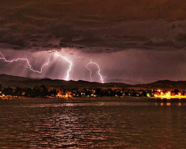 Lightning Poster featuring the photograph Lightning Over Lake Loveland by Trent Mallett