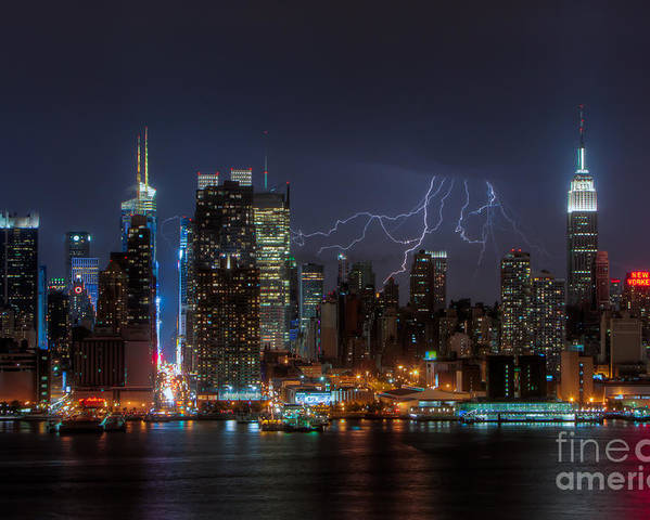 Clarence Holmes Poster featuring the photograph Lightning Over New York City IIi by Clarence Holmes