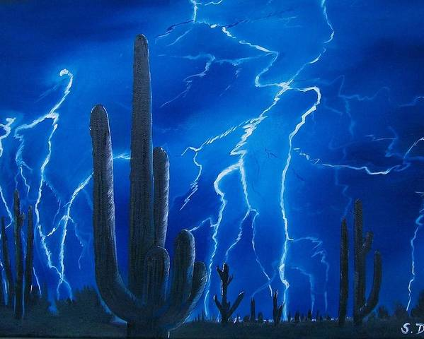 Desert Poster featuring the painting Lightning Over The Sonoran by Sharon Duguay