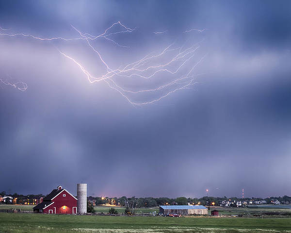 Lightning Poster featuring the photograph Lightning Storm And The Big Red Barn by James BO Insogna