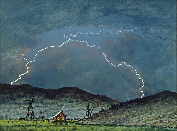 Landscape Poster featuring the painting Lightning Storm  by Paul Krapf