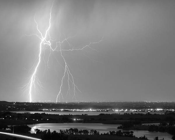 Lightning Poster featuring the photograph Lightning Strike Boulder Reservoir And Coot Lake Bw by James BO Insogna
