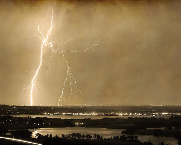 Lightning Poster featuring the photograph Lightning Strike Boulder Reservoir And Coot Lake Sepia 2 by James BO Insogna