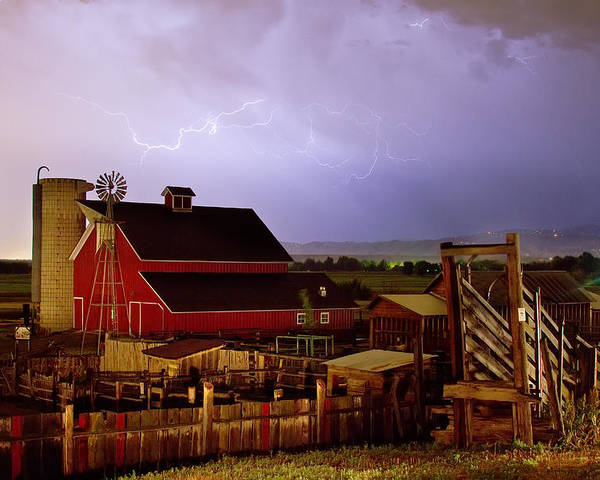 Lightning Poster featuring the photograph Lightning Strikes Over The Farm by James BO Insogna