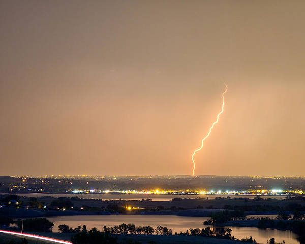 Lightning Poster featuring the photograph Lightning Striking Over Coot Lake And Boulder Reservoir by James BO Insogna