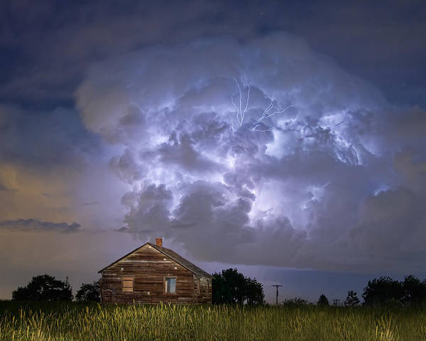 Sky Poster featuring the photograph Lightning Thunderstorm Busting Out by James BO Insogna
