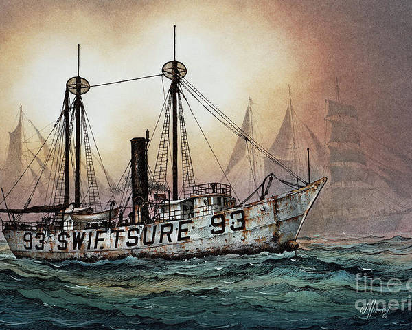 Lighthouse Fine Art Print Poster featuring the painting Lightship Swiftsure by James Williamson