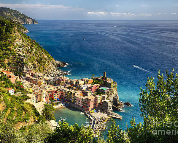 Cinque Terre Poster featuring the photograph Ligurian Coast View At Vernazza by George Oze