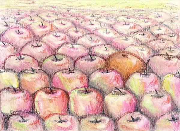 Fruit Poster featuring the drawing Like Apples And Oranges by Shana Rowe Jackson