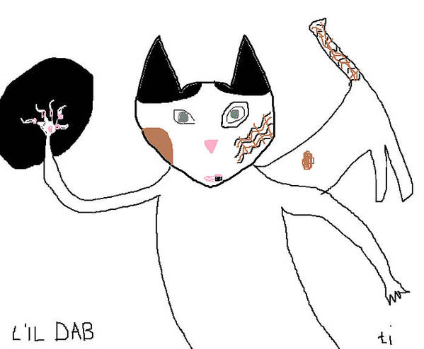 Primitive Cat Art Poster featuring the painting Lil Dab by Anita Dale Livaditis