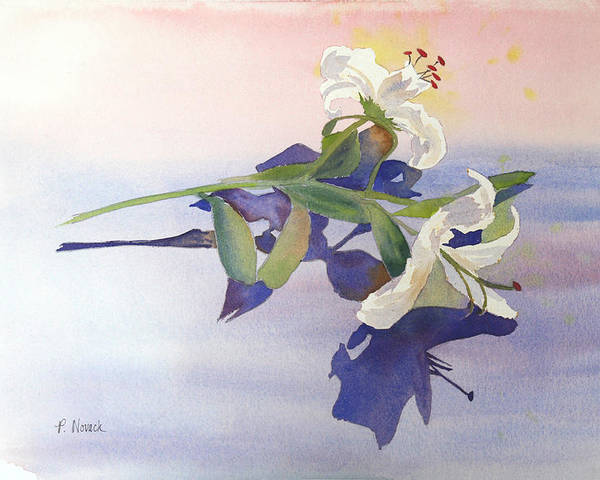 Lily Poster featuring the painting Lilies At Rest by Patricia Novack