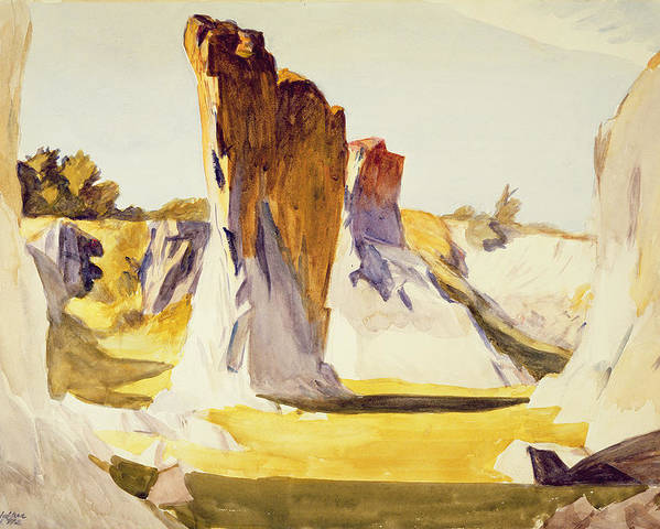 Rockland Poster featuring the painting Lime Rock Quarry II by Edward Hopper
