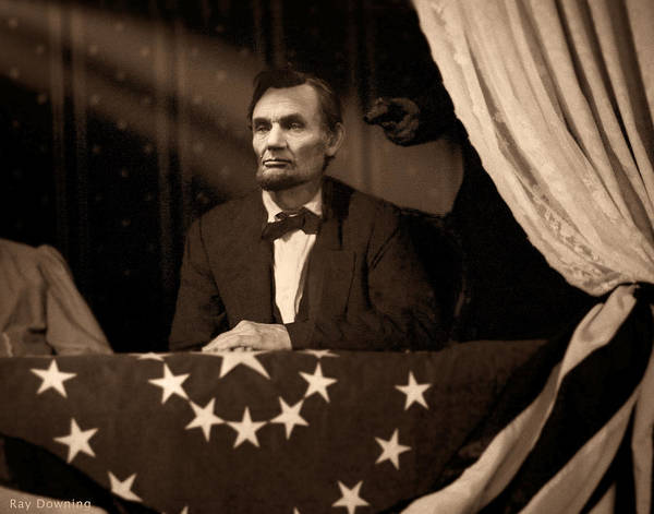 Abraham Lincoln Poster featuring the digital art Lincoln At Fords Theater by Ray Downing