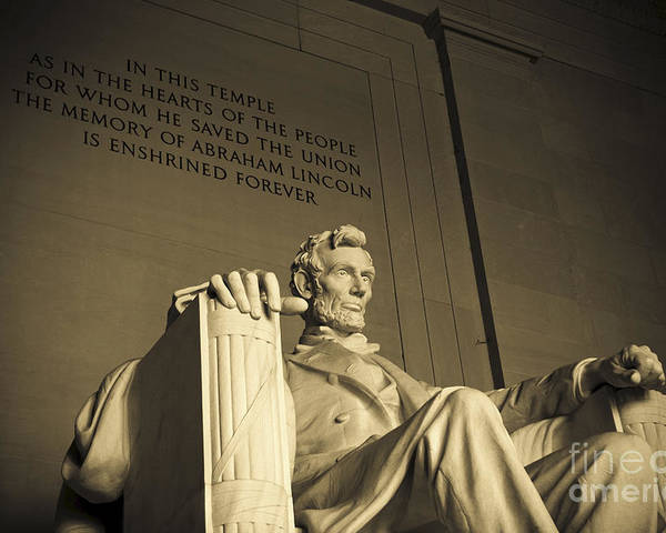 Abraham Lincoln Poster featuring the photograph Lincoln Statue In The Lincoln Memorial by Diane Diederich