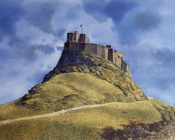 Landscape Poster featuring the painting Lindisfarne Castle by Tom Wooldridge