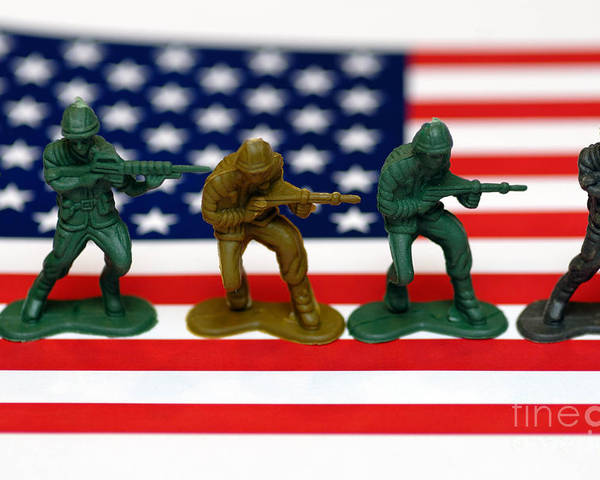 Aggression Poster featuring the photograph Line Of Toy Soldiers On American Flag Shallow Depth Of Field by Amy Cicconi