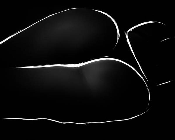 Lines Black White Abstract Female Girl Woman Butt Naked Nude Erotic Curves Abstract Expressionism Impressionism Poster featuring the painting Lines by Steve K